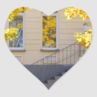 Urban autumn scene heart sticker