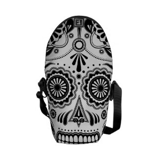 Urban Aztec Sugar Skull Art Black messenger bag