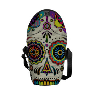 Urban Aztec Sugar Skull Art messenger bag