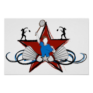 Urban Badminton Illustration Poster