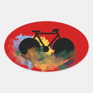 urban bicycle art graphic illustration oval sticker