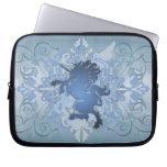 Urban Blue Fantasy Scroll Unicorn Laptop Sleeve