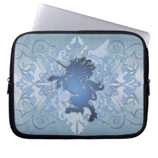 Urban Blue Fantasy Scroll Unicorn Laptop Sleeve electronicsbag