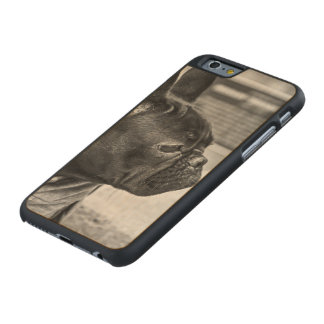 Urban bulldog carved maple iPhone 6 slim case