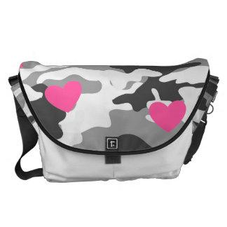 Urban Camo & Hearts Messenger Bag