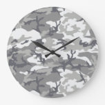Urban Camoflage Pattern in Greys and White Wall Clocks