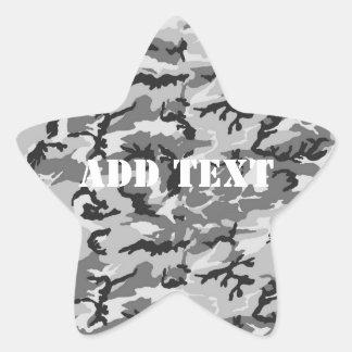 Urban Camouflage - Black & Grey Star Sticker