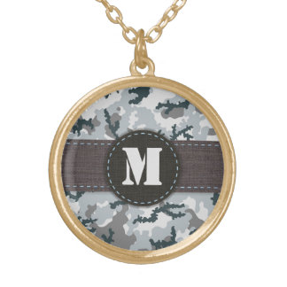 Urban camouflage gold plated necklace