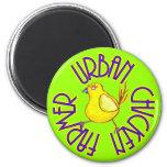 Urban Chicken Farmer 2 Inch Round Magnet
