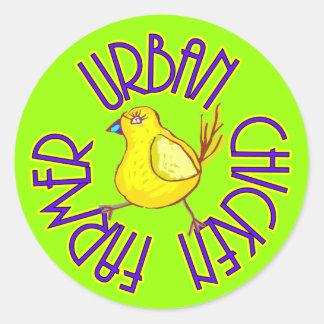 Urban Chicken Farmer Classic Round Sticker