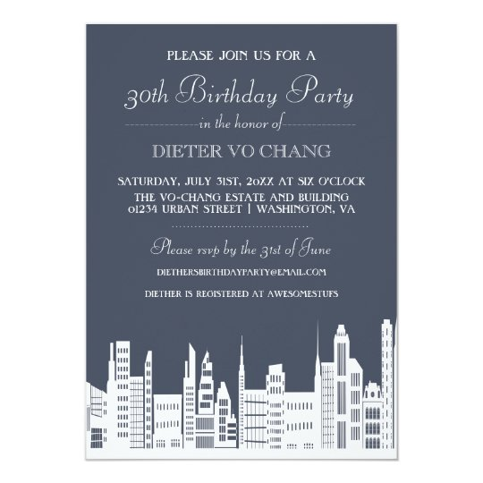Urban City Birthday Party Invites