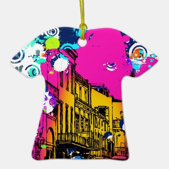 urban city graffiti paint splatter design colorful ceramic ornament