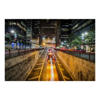 Urban City Night Traffic Lights Poster