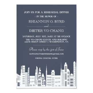 Urban City Rehearsal Dinner Invitations