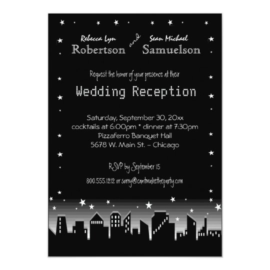 Urban Cityscape And Stars Reception Only Invite
