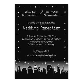 """Urban Cityscape And Stars Reception Only Invite 5"""" X 7"""" Invitation Card"""