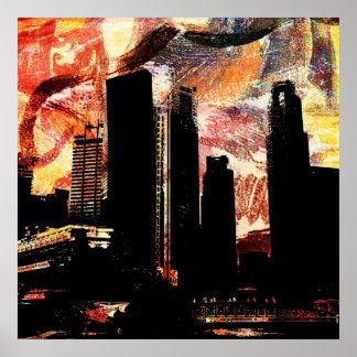 urban cityscape decay print