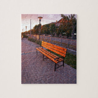 Urban cityscape with benches and lanterns in the e jigsaw puzzle