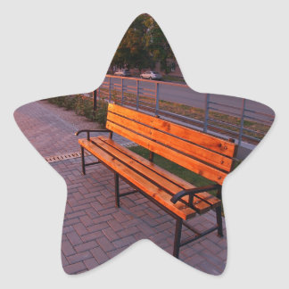 Urban cityscape with benches and lanterns in the e star sticker