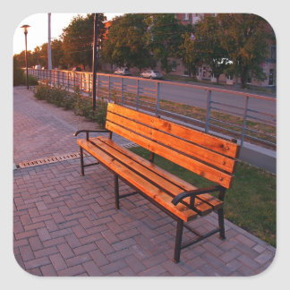 Urban cityscape with benches and lanterns in the e square sticker
