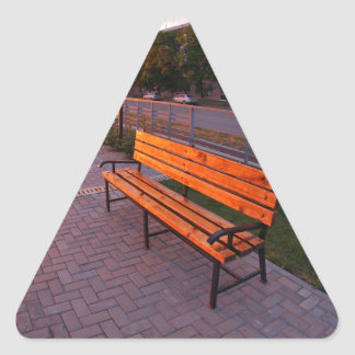 Urban cityscape with benches and lanterns in the e triangle sticker