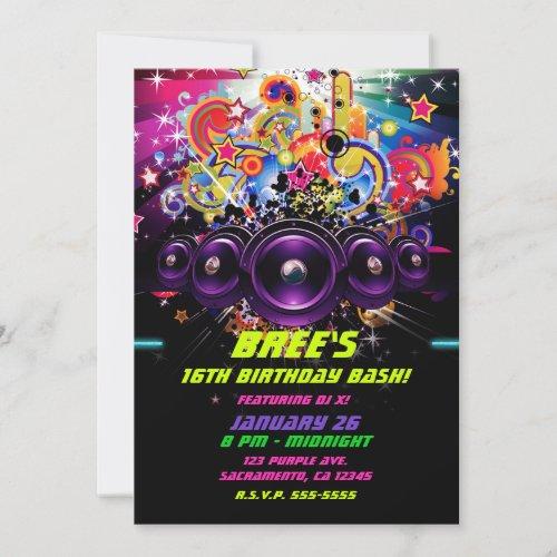 Urban Club Hip Hop DJ Dancing Dance Party Invitation