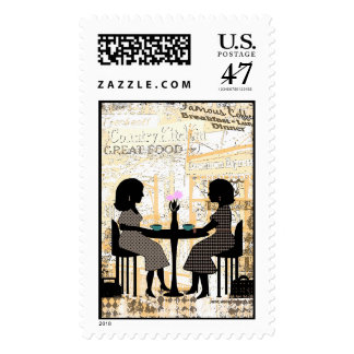 Urban Collage Coffee Shop Friends Postage