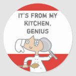 urban comic chef skillet cooking gift tag stick... round stickers