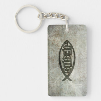 Urban Concrete Jesus Fish Double-Sided Rectangular Acrylic Keychain