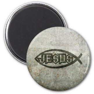 Urban Concrete Jesus Fish Magnet