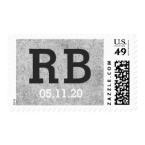 Urban concrete monogram initials and event date postage