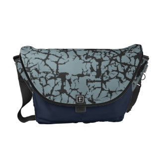 Urban Cracked Leather Look in Steel Blue Messenger Bag