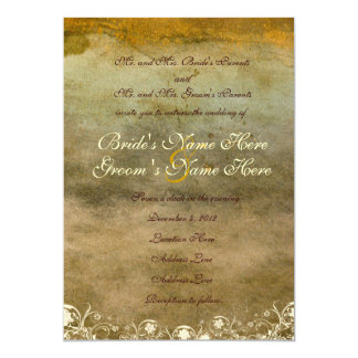 Urban Decay Gold Grunge Wedding Invitation