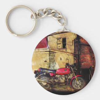 Urban Decay with Red Motorcycle Basic Round Button Keychain