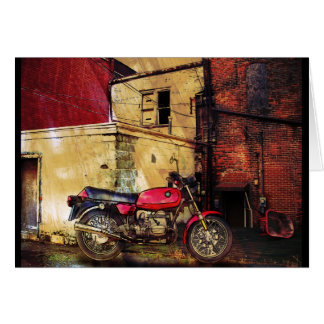 Urban Decay with Red Motorcycle Greeting Card