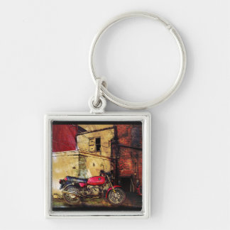 Urban Decay with Red Motorcycle Silver-Colored Square Keychain