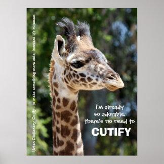 Urban Dictionary CUTIFY, Baby Giraffe Poster 18x24