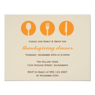 Urban dinner party orange utensil Thanksgiving Card