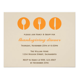 Urban dinner party orange utensil Thanksgiving Personalized Invitations