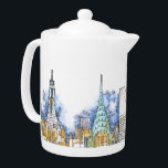 "Urban Dish Collection Teapot<br><div class=""desc"">mugs,  pitchers,  teapots,  coffee servers,  dish with my illustrations of NYC architecture</div>"