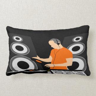 Urban DJ Spinning Vinyl At Decks Lumbar Pillow