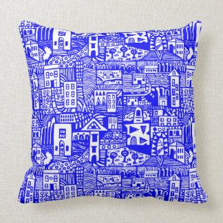 Urban Dream - Blue on White Throw Pillow