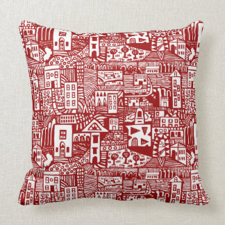 Urban Dream - Ruby Red Throw Pillow