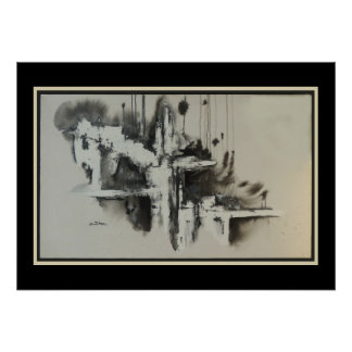 Urban Dreams Black and White Abstract Poster