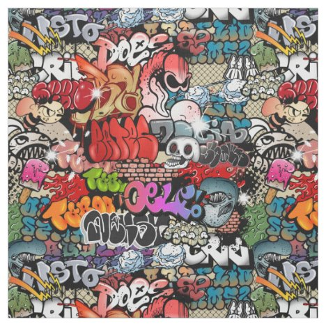 Urban dynamic street art Graffiti art pattern Fabric