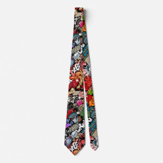 Urban dynamic street art Graffiti art pattern Neck Tie