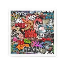 Urban dynamic street art Graffiti art pattern Paper Napkin