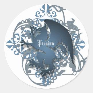 Urban Fantasy Blue Griffin Add Name Stickers