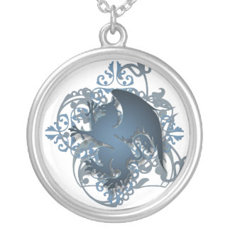 Urban Fantasy Blue Griffin Chain Necklace