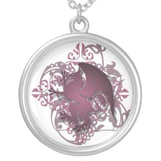 Urban Fantasy Burgandy Griffin Chain Necklace